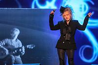 Diane Dufesne performs during the Hommage a Felix Leclerc concert at the Festival d'ete de Quebec on the plains of Abrahams in Quebec City Thursday July 3, 2014.