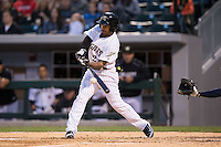 Leury Garcia (24) of the Charlotte Knights at bat against the Scranton\Wilkes-Barre RailRiders at BB&T BallPark on May 1, 2015 in Charlotte, North Carolina.  The RailRiders defeated the Knights 5-4.  (Brian Westerholt/Four Seam Images)