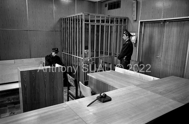 Moscow, Russia .1995.In a Moscow court house a man makes his last statement before the judge sentences him. His is accused of car theft, a highly organized buiness in Russia.