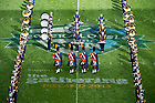 Sept. 1, 2012; The Notre Dame Marching Band performs during halftime of the 2012 Emerald Isle Classic against Navy at Aviva Stadium in Dublin, Ireland. Photo by Barbara Johnston/University of Notre Dame