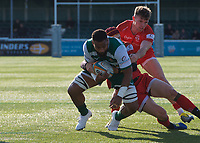 Andrew Durutalo of Ealing Trailfinders is tackled by Greg Dyer of Jersey Reds during the Greene King IPA Championship match between Ealing Trailfinders and Jersey at Castle Bar, West Ealing, England  on 19 October 2019. Photo by Alan Stanford / PRiME Media Images