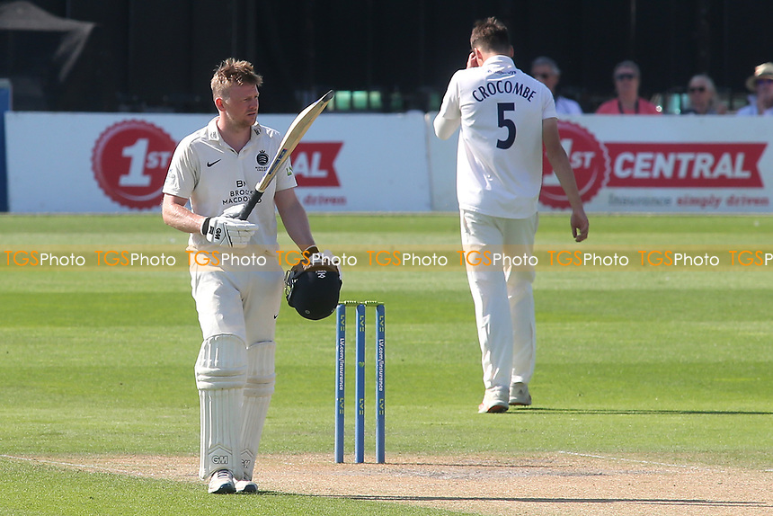 Sam Robson of Middlesex celebrates scoring a double century during Sussex CCC vs Middlesex CCC, LV Insurance County Championship Division 3 Cricket at The 1st Central County Ground on 7th September 2021