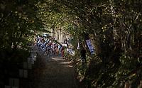 U23 race start up the infamous steep Koppenberg cobbles<br /> <br /> Koppenbergcross / Belgium 2017