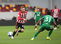 Brentford's Henrik Dalsgaard passes the ball forward and races upfield during Brentford vs Preston North End, Sky Bet EFL Championship Football at the Brentford Community Stadium on 4th October 2020
