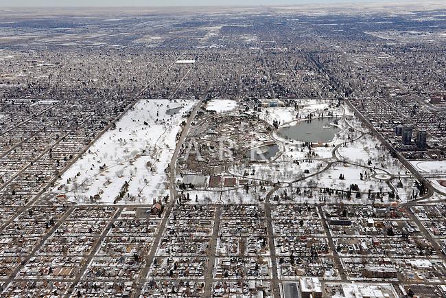 Aerial of Denver City Park in winter, looking east.  2013 Feb 23. 82243
