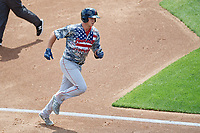 Pawtucket Red Sox Bobby Dalbec (15) rounds the bases after hitting a home run during an International League game against the Buffalo Bisons on August 25, 2019 at Sahlen Field in Buffalo, New York.  Buffalo defeated Pawtucket 5-4  (Mike Janes/Four Seam Images)