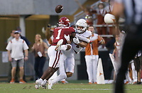 Arkansas defensive back Jalen Catalon (1) blocks a pass intended for Texas wide receiver Jordan Whittington (4), Saturday, September 11, 2021 during the second quarter of a football game at Reynolds Razorback Stadium in Fayetteville. Check out nwaonline.com/210912Daily/ for today's photo gallery. <br /> (NWA Democrat-Gazette/Charlie Kaijo)