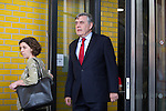 © Joel Goodman - 07973 332324 . 16/06/2016 . Manchester , UK .  GORDON BROWN arrives . Labour Shadow Chancellor , John McDonnell MP and former Labour Prime Minister , Gordon Brown , speak at a Labour IN campaign event at the Union at the University of Manchester . Photo credit : Joel Goodman