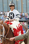 April 12, 2014:  Jockey Luis Saez wins the Oaklawn Park Handicap at the Arkansas Derby at Oaklawn Park in Hot Springs, AR. Zoie Clift/ESW/CSM