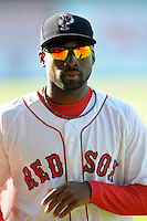 Pawtucket Red Sox outfielder Jackie Bradley Jr. #19 prior to a game versus the Buffalo Bisons at McCoy Stadium in Pawtucket, Rhode Island on June 15, 2013.(Ken Babbitt/Four Seam Images)
