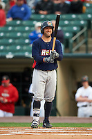 Toledo Mudhens outfielder Tyler Collins (18) at bat during a game against the Rochester Red Wings on May 12, 2015 at Frontier Field in Rochester, New York.  Toledo defeated Rochester 8-0.  (Mike Janes/Four Seam Images)