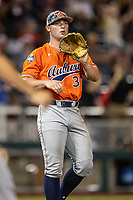 Auburn Tigers pitcher Tanner Burns (32) during Game 4 of the NCAA College World Series against the Mississippi State Bulldogs on June 16, 2019 at TD Ameritrade Park in Omaha, Nebraska. Mississippi State defeated Auburn 5-4. (Andrew Woolley/Four Seam Images)