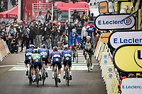 Green Jersey / points leader Mark Cavendish (GBR/Deceuninck - Quick Step)is the last rider in today as he just makes the time-cut up Luz Ardiden in no small thanks to his teammates escorting him all the way up<br /> <br /> Stage 18 from Pau to Luz Ardiden (130km)<br /> 108th Tour de France 2021 (2.UWT)<br /> <br /> ©kramon