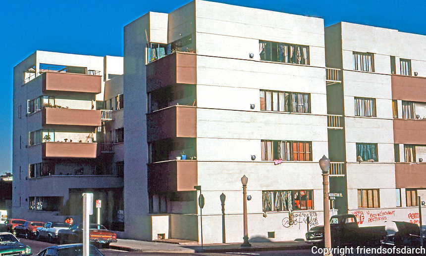 Richard Neutra: Jardinette Apartments, 5128 West Marathon, Los Angeles 1927. Photo '78.