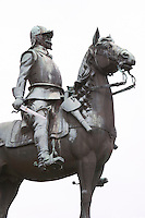 The equestrian statue by Alf Olsson on the Main Square from 1929 in memory of Smaland's Hussar regiment disbanded in 1927, representing a cavalry man from the Thirty Years War in the early 1600s Eksjo town. Smaland region. Sweden, Europe.