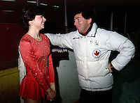 Tracy Wainman and coach Doug Leigh in 1978. Photo copyright Scott Grant.