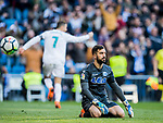 Goalkeeper Fernando Pacheco Flores of Deportivo Alaves reacts as Cristiano Ronaldo of Real Madrid celebrates his scoring during the La Liga 2017-18 match between Real Madrid and Deportivo Alaves at Santiago Bernabeu Stadium on February 24 2018 in Madrid, Spain. Photo by Diego Souto / Power Sport Images