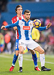 Leo Baptistao of RCD Espanyol fights for the ball with Filipe Luis of Atletico de Madrid during the La Liga match between Atletico de Madrid and RCD Espanyol at the Vicente Calderón Stadium on 03 November 2016 in Madrid, Spain. Photo by Diego Gonzalez Souto / Power Sport Images