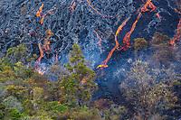 A close-up of lava rivers in Pulama Pali (part of Holei Pali), Hawai'i Volcanoes National Park, Puna, Hawai'i Island, December 2017.