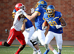 BROOKINGS, SD - MARCH 13: Pierre Strong Jr. #20 of the South Dakota State Jackrabbits looks for running room agains the Youngstown State Penguins at Dana J. Dykhouse Stadium on March 13, 2021 in Brookings, South Dakota. (Photo by Dave Eggen/Inertia)