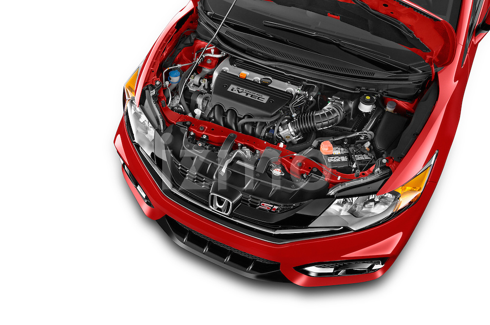 Car Stock 2015 Honda Civic Si Coupe SI 2 Door  Engine high angle detail view