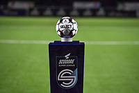 The Superleague ball holder pictured ahead of  a female soccer game between  Racing Genk Ladies and AA Gent Ladies on the eleventh matchday of the 2020 - 2021 season of Belgian Scooore Womens Super League , friday 22 th of January 2021  in Genk , Belgium . PHOTO SPORTPIX.BE   SPP   DAVID CATRY