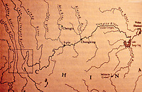 China:  Yangtse System Map showing capture of south-flowing rivers by Yangtse.  Van Sylke, YANGTZE, p. 18.  Reference only.