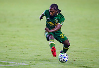 CARSON, CA - OCTOBER 07: Yimmi Chara #23 of the Portland Timbers turns with the ball during a game between Portland Timbers and Los Angeles Galaxy at Dignity Heath Sports Park on October 07, 2020 in Carson, California.