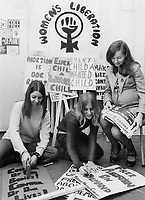 Clenched fist symbol appears on many posters and signs.related to birth control and abortion<br /> <br /> Griffin, Doug<br /> Picture, 1971