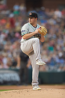 Norfolk Tides starting pitcher Keegan Akin (41) in action against the Charlotte Knights at BB&T BallPark on July 5, 2019 in Charlotte, North Carolina. The game was suspended in the bottom of the first inning due to wet grounds. (Brian Westerholt/Four Seam Images)