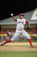 Williamsport Crosscutters pitcher Edubray Ramos (38) delivers a pitch during the second game of a doubleheader against the Batavia Muckdogs on July 29, 2014 at Dwyer Stadium in Batavia, New York.  Batavia defeated Williamsport 1-0 in 11 innings.  (Mike Janes/Four Seam Images)
