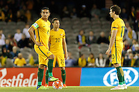 June 7, 2016: TIM CAHILL (4) of Australia prepares to kick off for an international friendly match between the Australian Socceroos and Greece at Etihad Stadium, Melbourne. Photo Sydney Low