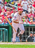 30 August 2015: Washington Nationals infielder Anthony Rendon in action against the Miami Marlins at Nationals Park in Washington, DC. The Nationals rallied to defeat the Marlins 7-4 in the third game of their 3-game weekend series. Mandatory Credit: Ed Wolfstein Photo *** RAW (NEF) Image File Available ***