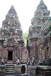 Angkorian temple Banteay Srei (late 10th century) 967.<br /> Central Shrine.<br /> Banteay Srei temple is situated 20km north of Angkor, built during the reign of Rajendravarman by Yajnavaraha, one of his counsellors. In antiquity Isvarapura was a small city that grew up around the temple. Banteay Srei was dedicated to the worship of Shiva, the foundation stele describes the consecration of the linga Tribhuvanamahesvara (Lord of the three worlds) in 967.