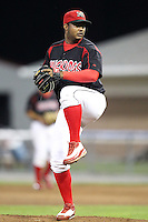 Batavia Muckdogs closing pitcher Jose Rada (56) during a game vs. the Williamsport Crosscutters at Dwyer Stadium in Batavia, New York July 26, 2010.   Batavia defeated Williamsport 3-2.  Photo By Mike Janes/Four Seam Images