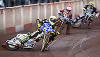 Heat 1: Niels-Kristian Iversen (white), Peter Karlsson (red) and Richie Worrall (yellow) - Lakeside Hammers vs Kings Lynn Stars, Elite League Speedway at the Arena Essex Raceway, Pufleet - 23/04/13 - MANDATORY CREDIT: Rob Newell/TGSPHOTO - Self billing applies where appropriate - 0845 094 6026 - contact@tgsphoto.co.uk - NO UNPAID USE.