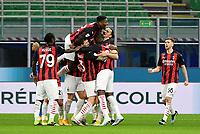 Football Soccer: Tim Cup Quarter Finals InternazionaleMIlan vs Milan, Giuseppe Meazza Stadium (San Siro) Milan, on January 26, 2021.<br /> Milan's Zlatan Ibrahimovic (second right) celebrates after scoring with his teammates during the Italian Tim Cup football match between Inter  and Milan at the Giuseppe Meazza stadium in Milan, January 26, 2021.<br /> UPDATE IMAGES PRESS/Isabella Bonotto