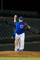 AZL Cubs relief pitcher Jeffrey Passantino (96) attempts to pick off a runner at first base during a game against the AZL Athletics on August 9, 2017 at Sloan Park in Mesa, Arizona. AZL Athletics defeated the AZL Cubs 7-2. (Zachary Lucy/Four Seam Images)
