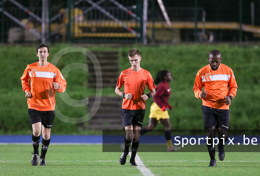Assistant referee Hicham Khlifa (L), referee Christopher Pottier (M) and assistant referee Arsene Yimele (R)  pictured during the warm up before a female soccer game between FC Femina WS Woluwe and Standard Femina de Liege on the fourth match day of the 2020 - 2021 season of Belgian Womens Super League , Friday 8th of October 2020  in Liege , Belgium . PHOTO SPORTPIX.BE | SPP | SEVIL OKTEM