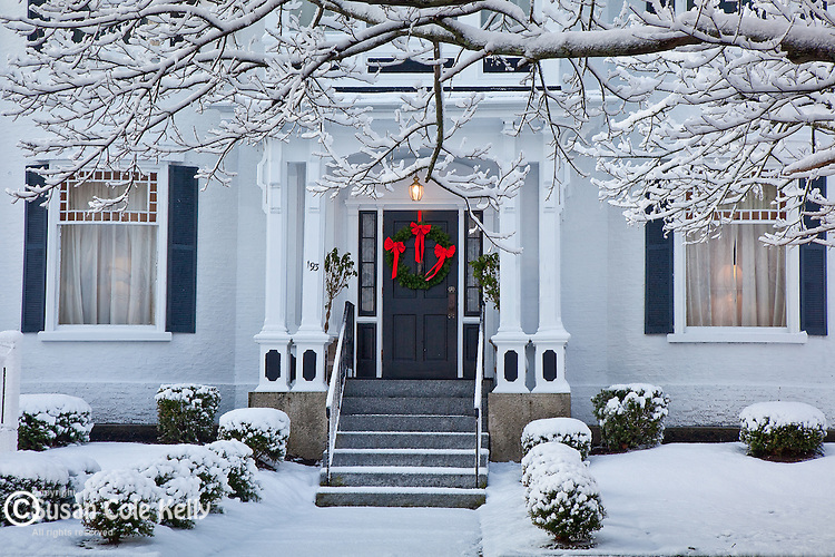 Winter on High Street in Newburyport, MA, USA