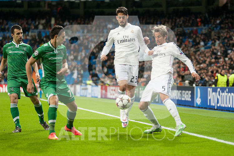 Isco and Coentrão of Real Madrid and Aleksandrov of Ludogorets during Champions League match between Real Madrid and Ludogorets at Santiago Bernabeu Stadium in Madrid, Spain. December 09, 2014. (ALTERPHOTOS/Luis Fernandez)