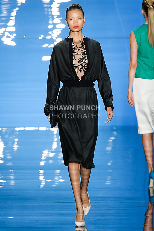 Leaf walks runway in an outfit from the Reem Acra Spring 2013 ready-to-wear collection, during Merecedes-Benz Fashion Week Spring 2013 in New York City.