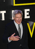 Actor Harrison Ford who plays Hans Solo in the Movie during the STAR WARS: 'The Force Awakens' EUROPEAN PREMIERE at Odeon, Empire & Vue Cinemas, Leicester Square, England on 16 December 2015. Photo by David Horn / PRiME Media Images