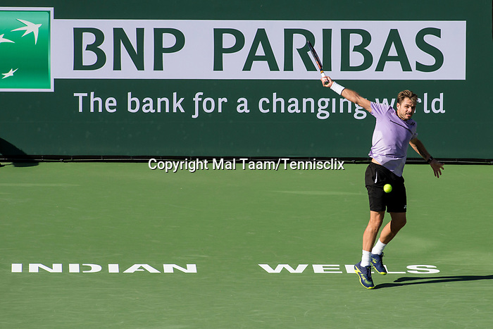 March 8, 2019: Stan Wawrinka (SUI) hits a backhand during his match where he defeated Daniel Evans (GBR) 6-7, 6-3, 6-3 at the BNP Paribas Open at the Indian Wells Tennis Garden in Indian Wells, California. ©Mal Taam/TennisClix/CSM
