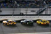 #20: Erik Jones, Joe Gibbs Racing, Toyota Camry DeWalt, #1: Kurt Busch, Chip Ganassi Racing, Chevrolet Camaro Monster Energy and #34: Michael McDowell, Front Row Motorsports, Ford Mustang Love's Travel Stops