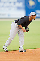 Shortstop Leury Garcia of the Hickory Crawdads on defense against the Kannapolis Intimidators at Fieldcrest Cannon Stadium August 17, 2010, in Kannapolis, North Carolina.  Photo by Brian Westerholt / Four Seam Images
