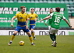 Hibs v St Johnstone…01.05.21  Easter Road. SPFL<br />James Brown and Lewis Stevenson<br />Picture by Graeme Hart.<br />Copyright Perthshire Picture Agency<br />Tel: 01738 623350  Mobile: 07990 594431