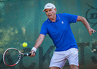 Hilversum, The Netherlands,  August 21, 2020,  Tulip Tennis Center, NKS, National Senior Tennis Championships, Men's single 70+,  Frank van Lerven (NED)<br /> Photo: Tennisimages/Henk Koster