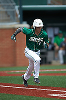 T.J. Nichting (1) of the Charlotte 49ers hustles down the first base line against the Marshall Thundering Herd at Hayes Stadium on April 23, 2016 in Charlotte, North Carolina. The Thundering Herd defeated the 49ers 10-5.  (Brian Westerholt/Four Seam Images)