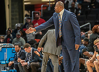 WASHINGTON, DC - DECEMBER 28: Patrick Ewing head coach of Georgetown directs his team. during a game between American University and Georgetown University at Capital One Arena on December 28, 2019 in Washington, DC.